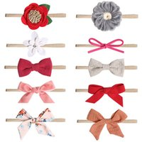 Wholesale cute orange headbands resale online - Baby Hair Sticks Band Bow Flowers Cute Color Mixing Simple Light Cloth Small Fresh Elastic Manual