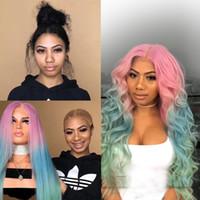 mavi ses toptan satış-Ombre Sentetik Saç Peruk Pembe Mavi Isıya Dayanıklı Ombre Siyah Kadınlar Için Tam Saç Peruk