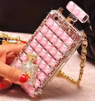 perfumes para móvil al por mayor-Para iPhone 6s 7 7plus 8 8plus X XS xsmax XR 5S Botella de perfume Diamond Caja del teléfono móvil Caja de cordón Caja del teléfono del Rhinestone con el paquete de Opp