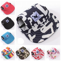 Wholesale designer baseball cap for sale - Group buy Brand Dog Hat With Ear Holes Summer Small Pet Canvas Cap Puppy Baseball Visor Hat Pet Outdoor Accessories LQPYW898