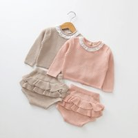 Wholesale european style baby clothes for sale - Baby girls outfits Newborn Knit Sweater top ruffle Shorts set spring autumn boutique kids Clothing Sets C5964