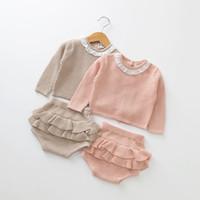 ingrosso maglioni boutique-Neonate abiti Newborn Knit Maglione top + ruffle Pantaloncini 2 pz / set 2019 primavera autunno boutique bambini Abbigliamento Set C5964