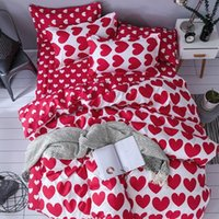 Wholesale teen queen beds for sale - Group buy 3D Home Textile Fashion Bedding Sets Girl Adult Teen Linens Red Heart Fashion Duvet Cover Pillowcase Flat Bed Sheet Queen