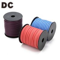 Wholesale brown leather necklace cord resale online - DC M roll Red Blue Brown Round PU Leather Cords Ropes mm Width for DIY Necklaces Bracelets Men Women Jewelry Findings