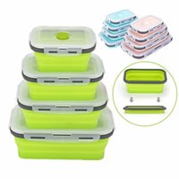 Wholesale container stock resale online - 6 Colors Floding Lunch Boxes Food Grade Silicone Food Storage Containers Student Portable Bento Box ml ml ml ml CCA11669