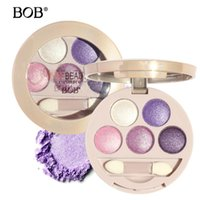 polvo de sombra de ojos al horno al por mayor-BOB Pure Shimmer paleta de sombras de ojos Fair Moist Baked Compact Eye Shadow Powder Sparkly Warm Diamond Colors Maquillaje de ojos con pincel