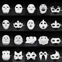 maske diy toptan satış-Papper DIY Parti Maskesi Yaratıcı Boyama Cadılar Bayramı Chirstmas Parti Maskesi Çocuk Kadın Erkek DIY Yarım Yüz Tam Yüz Maskeleri HHA666