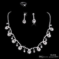 Wholesale sparkly jewelry sets for sale - Group buy Cheap In Stock many style Wedding Jewelry Sets Silver Plated Necklace Earrings Sets Rhinestone Wedding Accessories sparkly