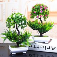 plantas artificiais da árvore bonsai venda por atacado-1 PCS Colorido Plantas Artificiais Bonsai Pequeno Potenciômetro Da Árvore Plantas Bonsai Árvore Falsa para Casa Decoração Do Jardim