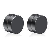 imanes coreanos al por mayor-Coreano de moda de doble cara imán circular para hombre Artificial Ear Nail acero inoxidable Ear-hole-free Clip Pendientes Negro
