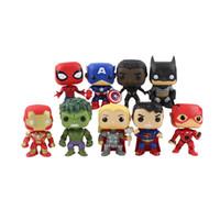 Wholesale spiderman batman hulk figure resale online - 9pcs Super Hero Figures Iron Man Black Panther Thor Hulk Flash Superman Batman Spiderman Action Figure Model Toys Gifts J190720