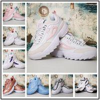 кроссовки торты оптовых-Designer shoes FILA men women [Со спортивными часами] Дизайнерская леди Destroyer II Sawtooth бисквит для вязания кроссовок Chaussure Ladies спортивные кроссовки для бега