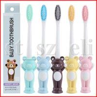 escova de dentes para crianças venda por atacado-Crianças dos miúdos Do Bebê Escova De Dentes Escova de Dentes Dos Desenhos Animados Animal Pequeno Urso Feliz Coelho Cabelo Macio Escova de Dentes Acessórios de Banho