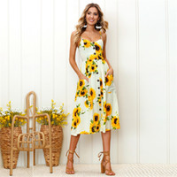Wholesale black strapless slip for sale - Group buy Flower Pinted Slip Dress Midi Single Breasted Dress Sleeveless Expension Dresses Summer Women Clothes Drop SHip