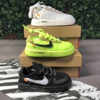 with box OW Children Air Forced 1 Volt Low Kids Sneakers White black Boys Girls youths Fashion One Sports Running Shoes Size 22 35