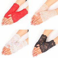 вождение перчаткой оптовых-Creative Lace Semi Finger Gloves Outdoors Woman Summer Driving Anti UV Thin Lace Solid Color Fashion Glove TTA858
