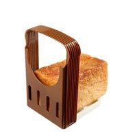 ekmek dilimleyici tostları toptan satış-Yeni Tost Ekmeği Dilimleme Plastik Katlanabilir Somun Kesici Raf Kesme Kılavuzu Dilimleme Araçları Mutfak Aksesuarları