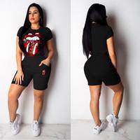 ingrosso più le magliette di novità di formato-Plus Size Donna Novità Maglia manica corta femminile Slim Hip Pop Tops con pantaloni Moda Estate T-shirt Paillettes Ladies Punk Tees