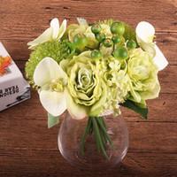ingrosso foglia di orchidea-Mazzo di cerimonia nuziale del fiore di seta Rose Orchid Berry Artificial Flowers Fall Vivid Fake Leaf Wedding Wedding Bouquet Bouquet da sposa Decorazione domestica