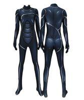 siyah cosplay catsuit toptan satış-Kadın Siyah Kedi PS4 Catwomen Streç Cosplay Kostüm Lycar Spandex Yüksek Kalite Süper Kahraman Zentai Parti Bodysuit Catsuit Tulum