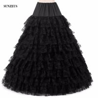 Wholesale long layer petticoat for sale - Group buy White Black Pink Ball Gown Hoops Petticoats Layers Tiered Lace Underskirts Long Crinolina Quinceanera Dress