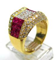 regalos para ruby aniversario de boda al por mayor-Las mujeres de lujo de 18 quilates de oro amarillo de la joyería Diamond Princess Cut Ruby Cz anillo aniversario de cumpleaños regalo sugerido anillo del banquete de boda tamaño 5-12