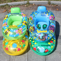 Wholesale fun swimming rings resale online - Inflatable Swimming Ring Safety Buoy Swim Float Summer Water Fun Cartoon Water Sport Colors Mix qh F1