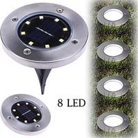 jardins decking venda por atacado-8 LEDs Movido A Energia Solar À Prova D 'Água Luz para Casa Quintal Driveway Road Gramado Chão Deck Jardim Caminho