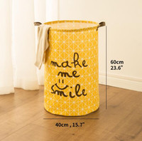 Wholesale baby clothes storage boxes resale online - Laundry Basket Toy Storage Picnic Basket Box Cotton Washing Clothes Box Baby Orgnizer Bin Make me smile big size
