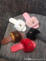 ingrosso pelliccia lussuosa-Ultime donne diapositive pantofole moda con serratura, Lock it muli piatti in lusso pelliccia di visone sandali per le donne Beach Party taglia 35-41