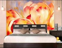 Wholesale painted flowers for walls chinese online - custom size d photo wallpaper living room d wall murals abstract flowers oil painting picture sofa TV backdrop wallpaper non woven sticker