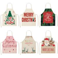 Wholesale red cotton aprons resale online - 1Pcs Merry Christmas Apron for Woman Pinafore cm Cotton Linen Bibs Xmas Decor Pendant Kitchen Cooking Accessories MX0004