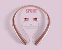 Wholesale line bluetooth headsets resale online - 2019 Hanging Neck Bluetooth Headset HWS916 Neck handing Telescopic Line Earphones Movement Binaural Running Earphones HWS