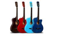 ingrosso chitarra costruita-principianti chitarra acustica speciale 38 pollici pagina trasporto libero ottenendo iniziato a praticare la chitarra pianoforte Tiglio asta di regolazione integrato