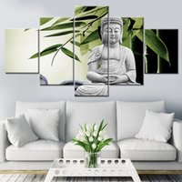 Wholesale wall art buddha painting for sale - Group buy 5 Pieces Wall Art Canvas Painting Buddha Canvas Painting Wall Pictures for Living Posters and Prints Combination Poster Art