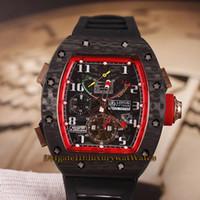 часы лотос оптовых-High Versionm Новый RM 50-01 LOTUS F1 TEAM Турбийон Циферблат из углеродного волокна Чехол RM50-01 Автоматические мужские часы Черный резиновый ремешок Часы 6 Цвет