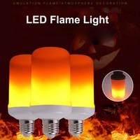 e27 led ampul ışık sensörü toptan satış-E27 LED Alev Işık Yaratıcı 3 modları + Yerçekimi Sensörü Alev Işıkları Etkisi Yangın Ampul Titrek Öykünme Dekor Lamba