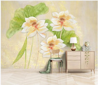 Wholesale lotus wallpaper home resale online - 3D wallpaper custom photo mural wallpapers d Hand painted d lotus leaf background oil painting wall papers home decor