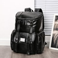 korece öğrenci çantası toptan satış-Fabrika toptan marka erkekler çanta büyük kapasiteli bilgisayar çantası çok cep deri Kore sırt çantası moda deri seyahat sırt çantası öğrenci