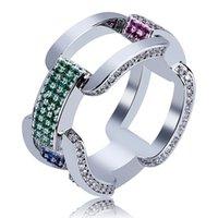 mücevherat için renkli zincirler toptan satış-Yüksek Kaliteli HIP Hop Moda Erkekler Parmaklar Için Renkli Zincir Yüzükler Bling Altın Gümüş Renk Kişilik Yüzükler Kaya Takı