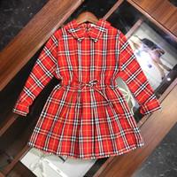 neue kleider mädchen revers großhandel-Kleid Mädchen scherzt die klassische Plaidreverskleid-Taillenentwurfsbaumwollkleid-Herbstart und weise der Entwerferkleidung neu