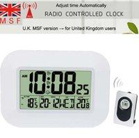 calendario controlado por radio al por mayor-Gran LCD Digital Reloj de pared Termómetro Interior con transmisor de temperatura al aire libre Radio reloj despertador RCC Calendario de mesa