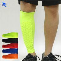 futbol ayakları toptan satış-2 Adet / grup Futbol Shin Muhafızları Futbol Petek Anti-çarpışma Bacak Isıtıcıları Buzağı Sıkıştırma Kollu Bisiklet Koşu Tekmeliği