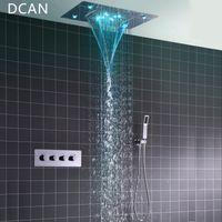 fix dusche wasserhahn großhandel-Großhandel Deckenmo Platz Fester Regenduschkopf mit 3-Wege-Thermostat Badezimmer Dusche Hahn-Chrom-Handduschsystem