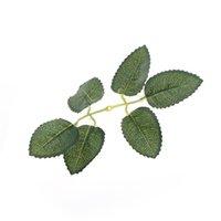 ingrosso artificiali foglie verdi artigianali-10pcs falso fiore Decor Fogliame FAI DA TE Scrapbooking Craft verde foglia fiore artificiale per la decorazione domestica di nozze