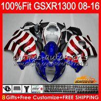 eua abs venda por atacado-Injecção Para SUZUKI Hayabusa USA FLAG azul GSXR1300 08 18 GSXR 1300 25HC.155 GSXR-1300 2008 2009 2010 2011 2012 2013 2014 2015 2016 Carenagem