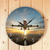 Wholesale airplane decor resale online - Huge Two Storeys Commercial Jetliner Wall Clock Commercial Airplane Taking of Runway in Dramatic Sunset Light Modern Home Decor Y200407