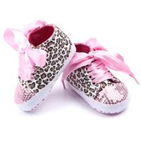 ingrosso kids sequin shoes-New Fashion Multicolor Bambino Bambini Baby Paillette Calzature sportive Scarpe Bling Leopard Abbigliamento per neonati Culle Prime Walkes