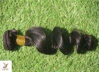 cheveux noirs non traités vierges achat en gros de-Jet Black Color Brésilienne Non-Traitée Cheveux Vierges Weave 6a Double Trame Lâche Vague Cheveux Bundles 100% Extension de Cheveux Humains