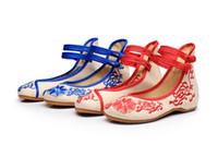 ingrosso scarpe d'epoca piane fiori d'epoca-CEYANEAO Fiori ricamati in cotone da donna vecchia Pechino appartamenti Vintage Ladies Casual scarpe da sposa traspirante con doppie fibbie